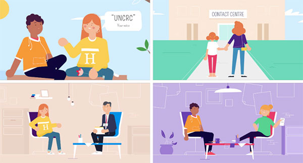 Graphic showing some sample views from the RIghts Idea? video A child explains the meaning of United Nations Convention on the Rights for the Child, A contact centre, a mediation session and time with a non-resident parent